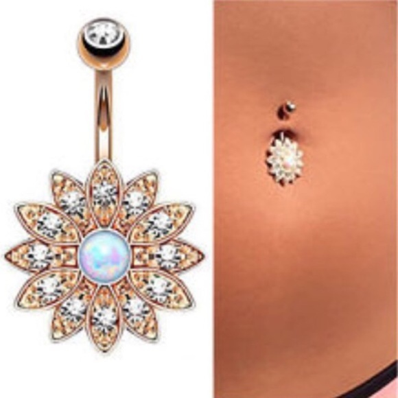 Rose Gold White Opal Belly Button Ring Bar Barbell Boutique